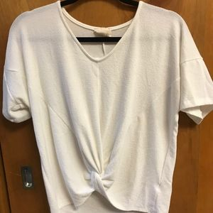 White tie front short sleeve top Large